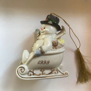 Lenox 1999 Snowman On Sled Christmas Ornament